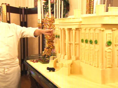 Video of the White House chef showing off the ginger bread house.
