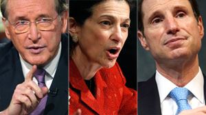 PHOTO U.S. Senator Jay Rockefeller (D-WV), left, Sen. Olympia Snowe (R-ME), and Oregon Sen. Ron Wyden are shown in these file photos.