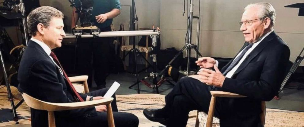"Legendary journalist and author Bob Woodward (right) is seen here during an interview with ABC News Dan Harris (left) for ""Nightline."""