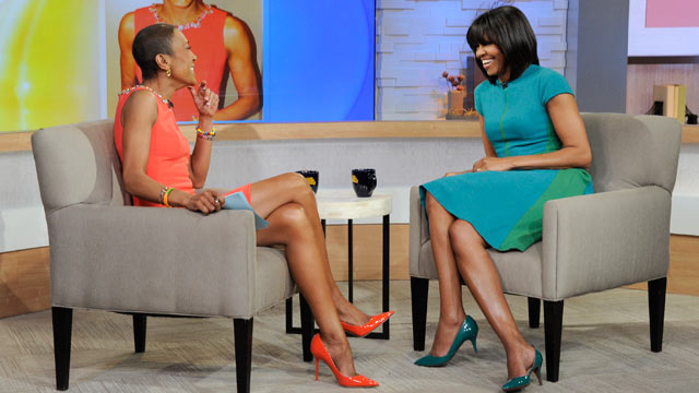 PHOTO: Robin Roberts sits down for an interview with First Lady Michelle Obama, to discuss a variety of topics including nutritious recipes for busy families, Feb. 26, 2013.