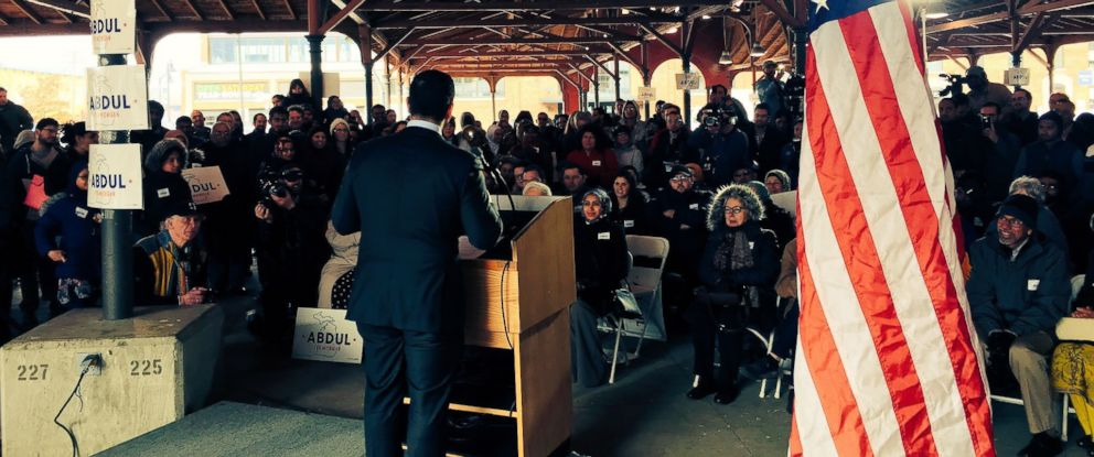 "PHOTO: ""Abdul El-Sayed, Democratic candidate for governor of Michigan, at his campaign announcement in Detroit in February."""