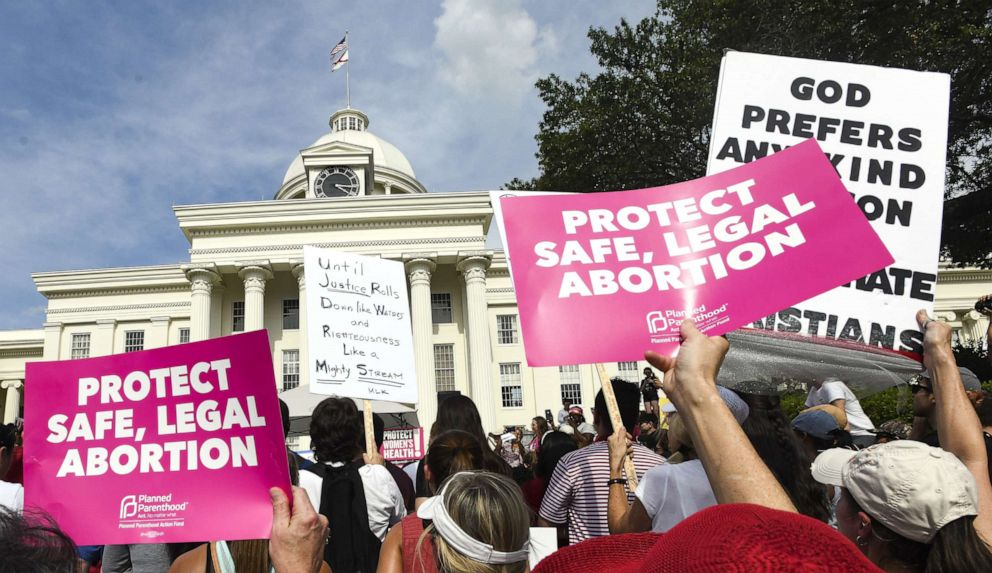 PHOTO: Protesters participate in a rally against one of the nations most restrictive bans on abortions on May 19, 2019 in Montgomery, Ala.