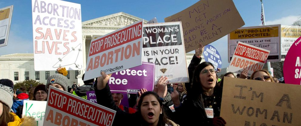 PHOTO: Abortion-rights activists protest outside of the U.S. Supreme Court, during the March for Life in Washington, Jan. 18, 2019.