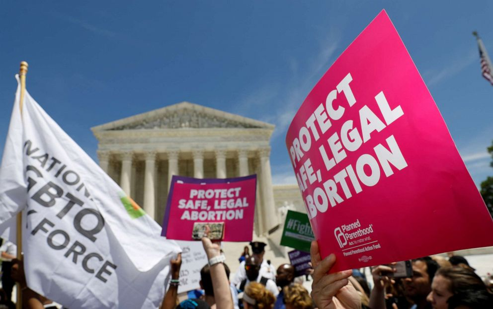 PHOTO: In this file photo, abortion rights activists are shown during a rally outside the U.S. Supreme Court in Washington, May 21, 2019.