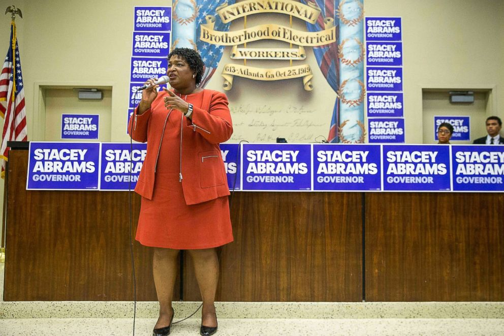 PHOTO: Gubernatorial candidate Stacey Abrams speaks during a campaign stop in Atlanta, Oct. 21, 2018.
