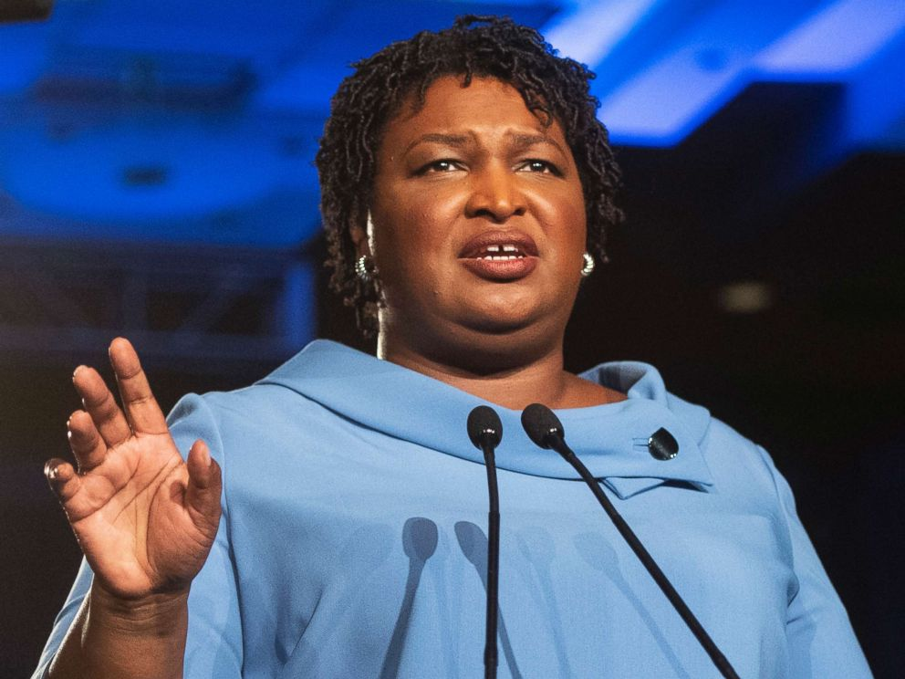PHOTO: Georgia Democratic gubernatorial candidate Stacey Abrams addresses supporters during an election night watch party in Atlanta, Nov. 6, 2018.