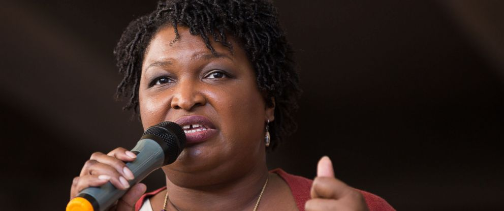 "PHOTO: Democratic Georgia Gubernatorial candidate Stacey Abrams talks to a crowd gathered for the ""Souls to The Polls"" march in Atlanta, Oct. 28, 2018."