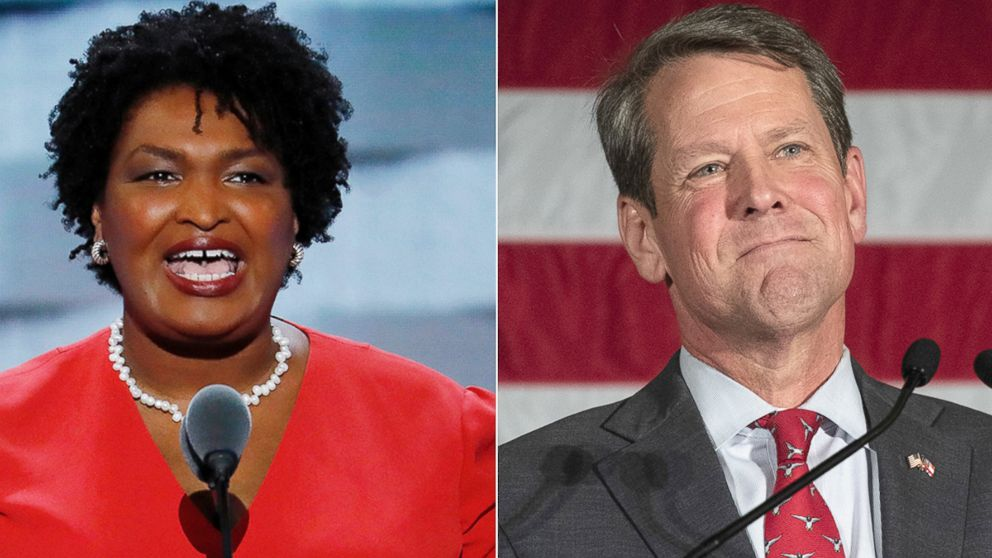 Stacey Abrams, left, and Brian Kemp.