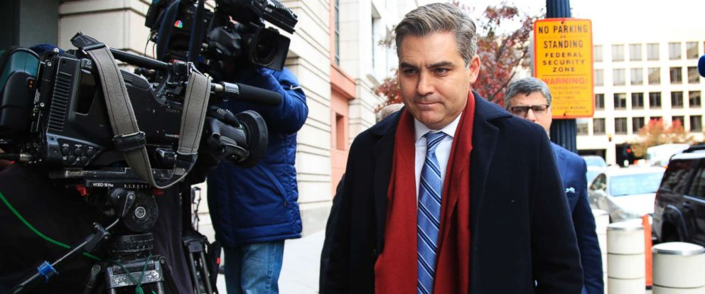 PHOTO: CNNs Jim Acosta walks into federal court in Washington D.C., Nov. 14, 2018, to attend a hearing on legal challenge against President Donald Trumps administration.