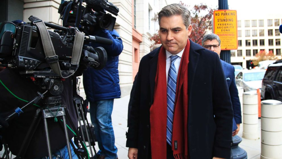 """CNN's Jim Acosta walks into federal court in Washington D.C., Nov. 14, 2018, to attend a hearing on legal challenge against President Donald Trump's administration. Trump's administration contends it has """"broad discretion"""" to regulate press access to the White House as it fends off a legal challenge from CNN and other outlets over the revocation of Acosta's """"hard pass."""""""