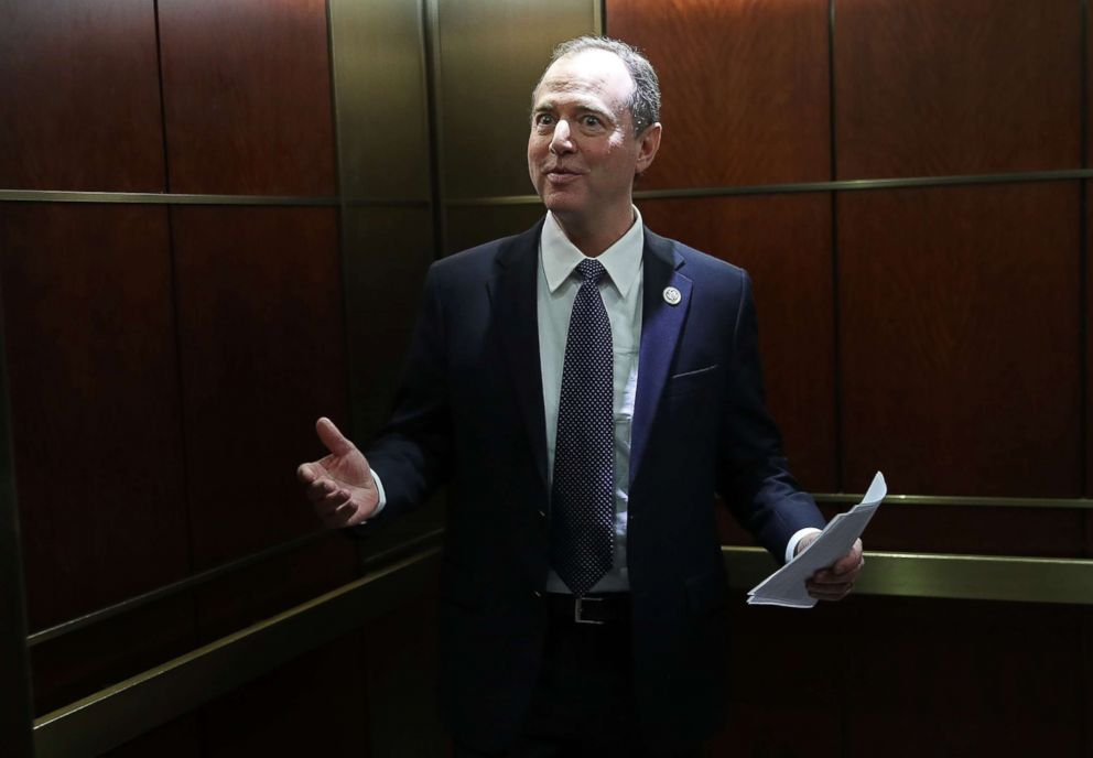 PHOTO: Rep. Adam Schiff, ranking member of the House Permanent Select Committee on Intelligence, answers brief questions from the media while boarding an elevator at the U.S. Capitol, Feb. 5, 2018 in Washington, D.C.
