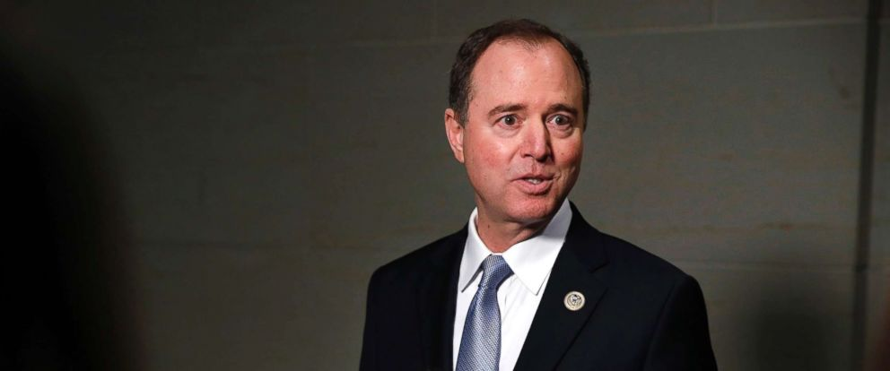 PHOTO: Rep. Adam Schiff, ranking member of the House Intelligence Committee, speaks to the media after attending a closed meeting with testimony by Attorney General Jeff Sessions, Nov. 30, 2017, on Capitol Hill in Washington.