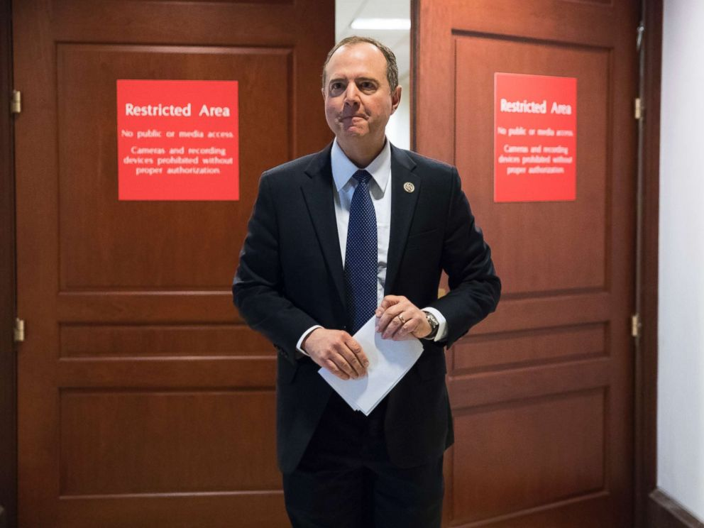 PHOTO: Rep. Adam Schiff, ranking member of the House Permanent Select Committee on Intelligence, leaves a secure area where the panel meets at the Capitol in Washington, D.C., Feb. 5, 2018.