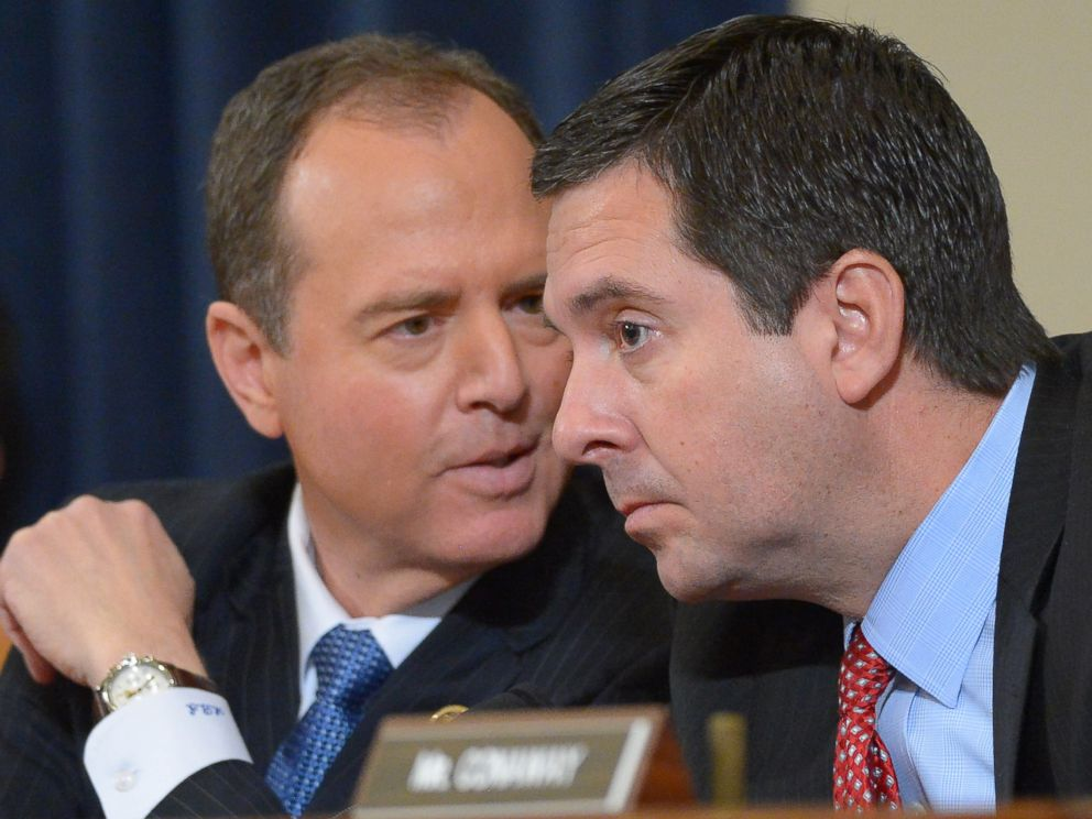 PHOTO: Rep. Adam Schiff and chairman Rep. Devin Nunes speak during a House Permanent Select Committee on Intelligence hearing on Capitol Hill in Washington, March 20, 2017.