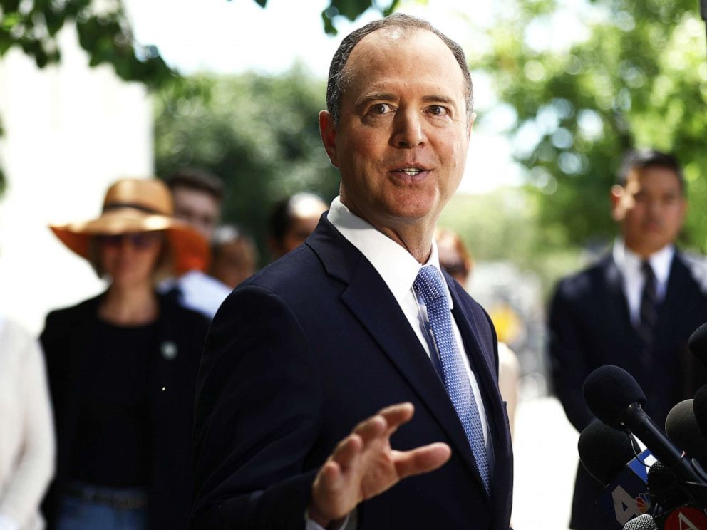 PHOTO: Chairman of the House Intelligence Committee Adam Schiff speaks at a press conference discussing release of the redacted Mueller report on April 18, 2019 in Burbank, Calif.