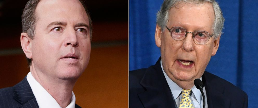 PHOTO: Pictured (L-R) are Rep. Adam Schiff in Washington, D.C., Feb. 27, 2017 and Senate Majority Leader Mitch McConnell in Louisville, Ky., Aug. 24, 2017.