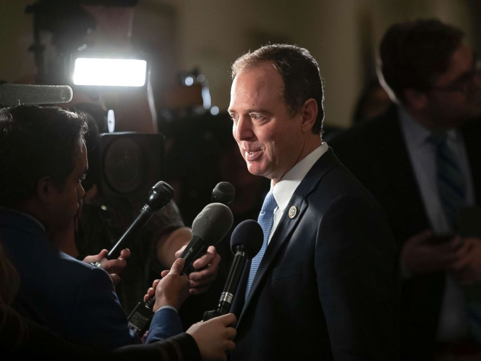 PHOTO: Rep. Adam Schiff speaks with reporters as he arrives for Democratic leadership elections on Capitol Hill in Washington, D.C., Nov. 28, 2018.