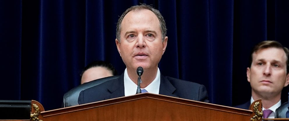 PHOTO: Committee Chair U.S. Representative Adam Schiff questions Acting Director of National Intelligence Joseph Maguire during his testimony before a House Intelligence Committee hearing on Capitol Hill in Washington, Sept. 26, 2019.