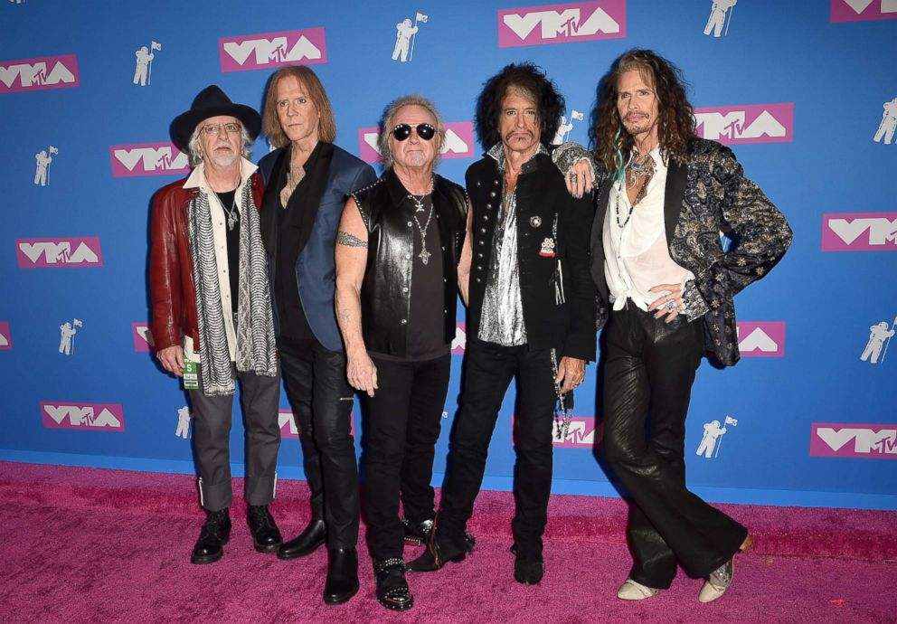 PHOTO: Brad Whitford, Tom Hamilton, Joey Kramer, Joe Perry and Steven Tyler of Aerosmith attend the 2018 MTV Video Music Awards at Radio City Music Hall on Aug. 20, 2018 in New York City.