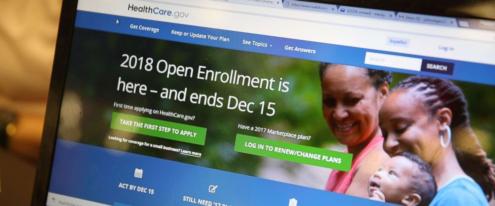 PHOTO: A computer screen shows the enrollment page for the Affordable Care Act, Nov. 1, 2017, in Miami, Florida.