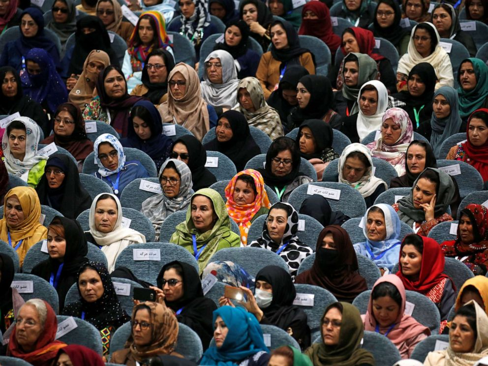PHOTO: Afghan women attend a consultative grand assembly, known as Loya Jirga, in Kabul, Afghanistan, April 29, 2019.