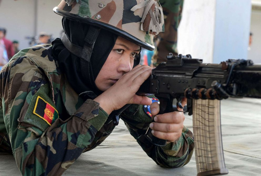 PHOTO: An Afghan woman army cadet shoots a target during a practice session in Chennai, Dec. 19, 2018. Nineteen female Afghan army cadets took part in the Indian military training program.