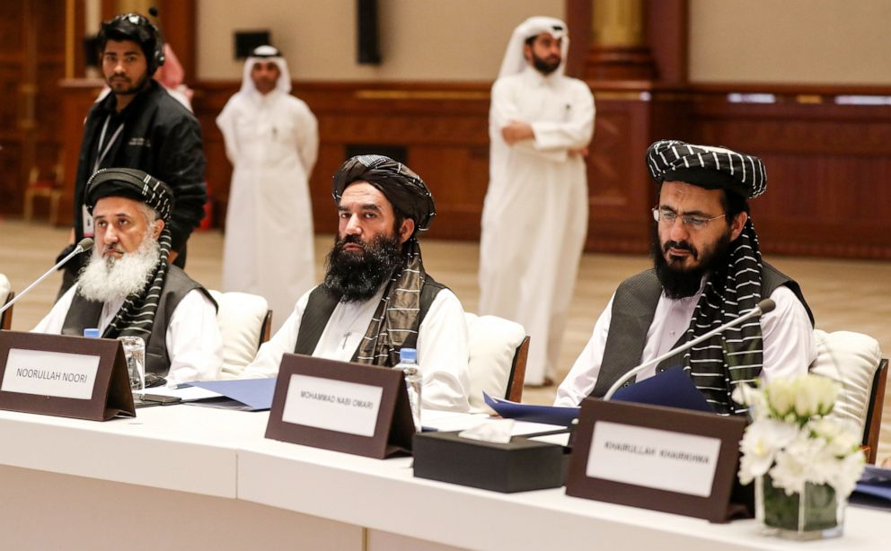 PHOTO: Noorullah Noori (center) and Mohammad Nabi Omari (right), members of the Taliban who were former prisoners held by the U.S. at Guantanamo Bay attend the Intra Afghan Dialogue talks in Doha, Qatar, July 7, 2019.