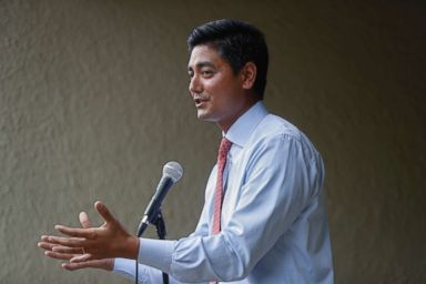 PHOTO: Hamilton County Clerk of Courts Aftab Pureval speaks during the Women for Aftab advocacy group kickoff event in support of Purevals 1st House District challenge to veteran Republican Rep. Steve Chabot, June 13, 2018, in Cincinnati.