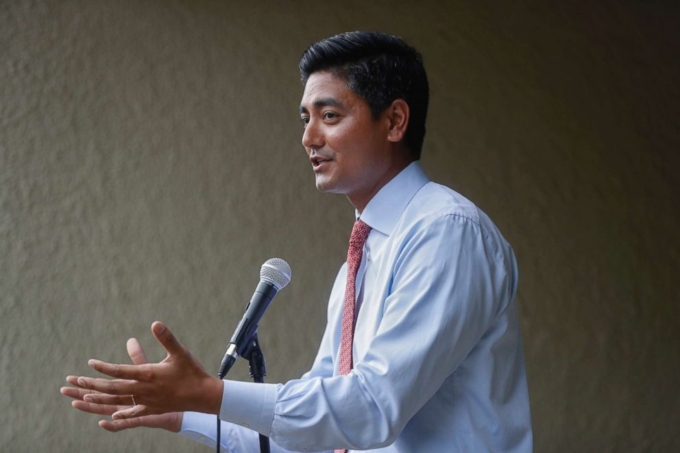 "Hamilton County Clerk of Courts Aftab Pureval speaks during the ""Women for Aftab"" advocacy group kickoff event in support of Pureval's 1st House District challenge to veteran Republican Rep. Steve Chabot, June 13, 2018, in Cincinnati."