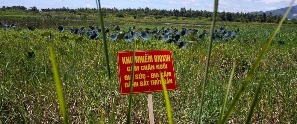 """PHOTO: A warning sign stands in a field contaminated with dioxin from the Vietnam war near Danang airport, Aug. 9, 2012, in Danang, Vietnam. The sign reads, """"Dioxin contamination zone - livestock, poultry and fishery operations not permitted."""""""