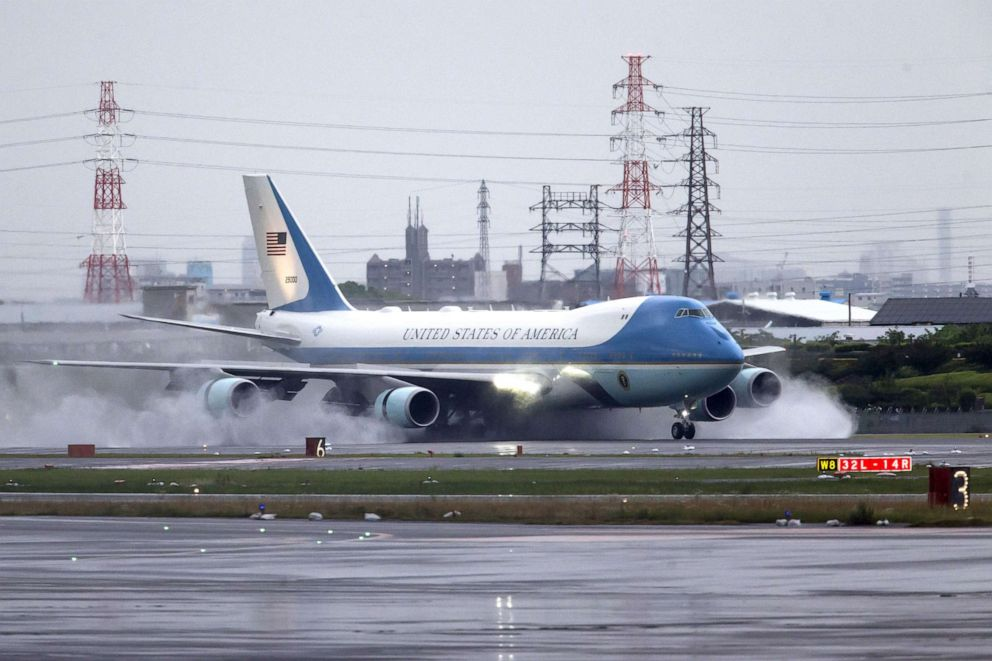 PHOTO: Air Force One, with President Donald Trump, lands at the Osaka International Airport for the G-20 Summit, June 27, 2019, in Osaka, Japan.