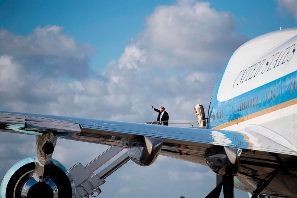 PHOTO: President Donald Trump boards Air Force One at Palm Beach International Airport in West Palm Beach, Fla., Feb. 19, 2018.