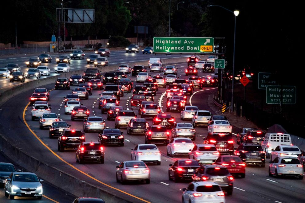 PHOTO: In this file photo taken on September 17, 2019, cars drive on the 101 freeway in Los Angeles, California