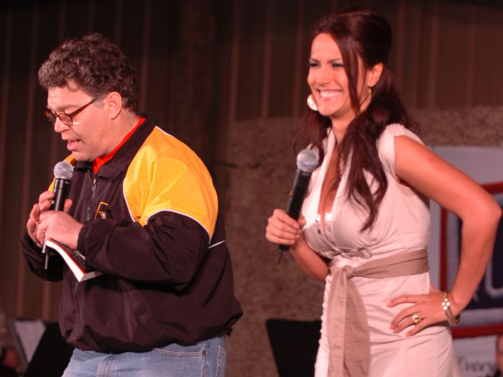 PHOTO: Al Franken and sports commentator Leeann Tweeden perform a comic skit on Camp Arifjan, in Kuwait on Dec. 15, 2006 in front of more than 2,000 service-members during the USO Sergeant Major of the Armys 2006 Hope and Freedom Tour. <p itemprop=