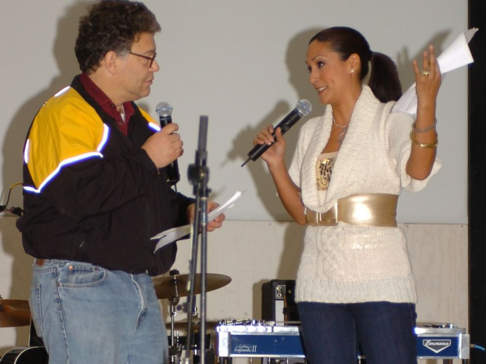 PHOTO: Al Franken and Leanne Tweeden entertain the soldiers with a skit involving underwear at Forward Operating Base Marez in Mosul, Iraq, Dec 16, 2006.