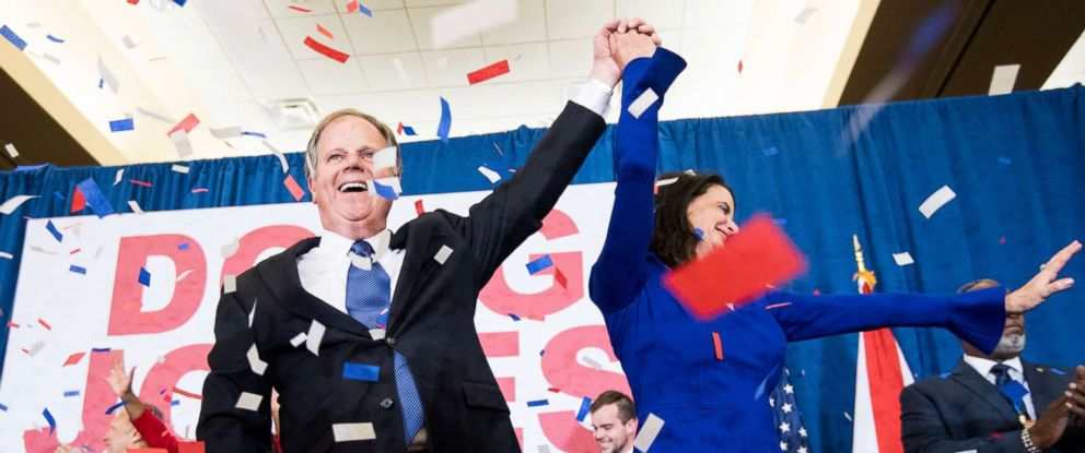 PHOTO: Alabama Democrat Doug Jones celebrates his projected victory over Judge Roy Moore at the Sheraton in Birmingham, Ala., Dec. 12, 2017.