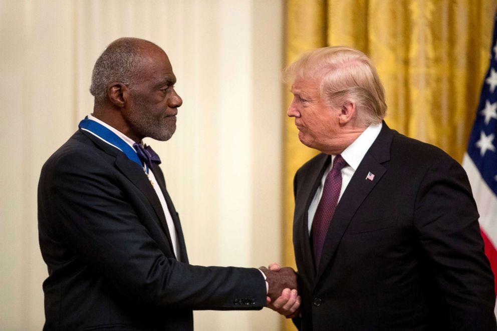 PHOTO: President Donald Trump awards former professional football player and Minnesota Supreme Court Associate Justice Alan Page the Medal of Freedom during a ceremony in the East Room of the White House, Nov. 16, 2018.