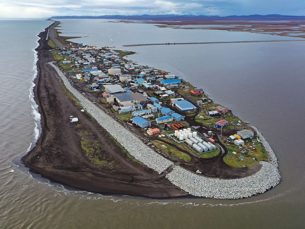 PHOTO: An aerial view of the remote village of Kivalina, which is at the very end of an eight-mile barrier reef located between a lagoon and the Chukchi Sea on Sept. 10, 2019 in Kivalina, Alaska.