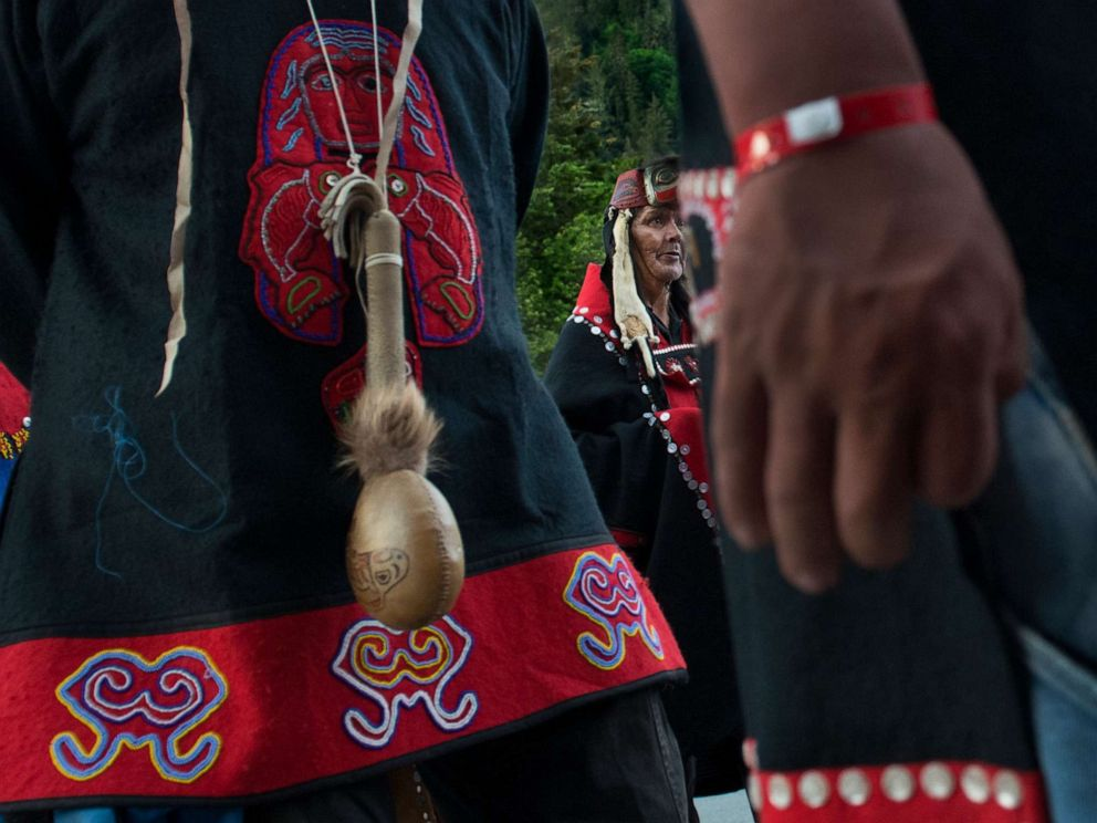 PHOTO: Alaskan tribal members are pictured during the grand entrance of a Native American event in Juneau, Alaska, June 11, 2014.