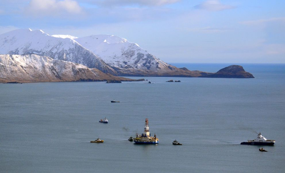 PHOTO: This Jan. 7, 2013 file photo shows the floating drill rig Kulluk in Kodiak Island, Alaskas Kiliuda Bay as salvage teams conduct an in-depth assessment of its seaworthiness.