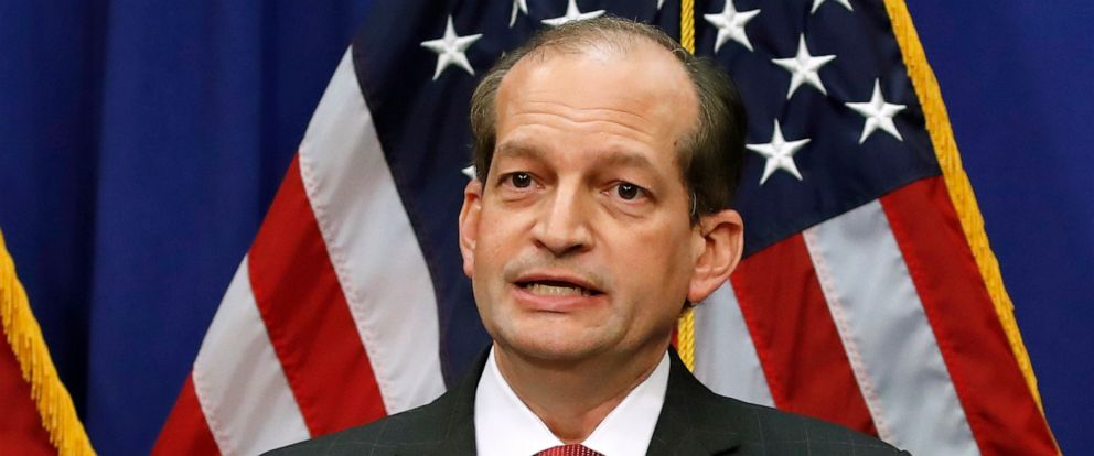 PHOTO: Labor Secretary Alex Acosta speaks during a media availability at the Department of Labor, July 10, 2019, in Washington.