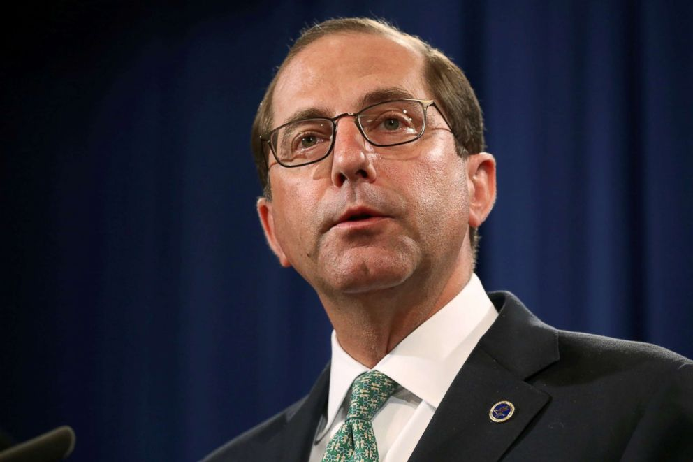 U.S. Secretary of Health and Human Services Alex Azar addresses a news conference at the Justice Department in Washington, June 28, 2018.