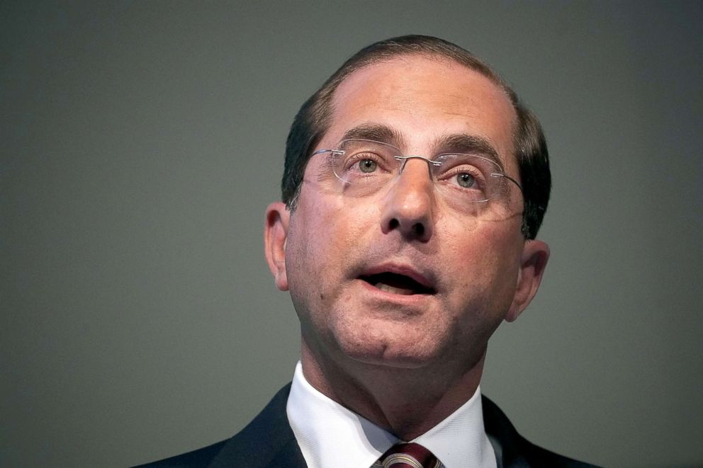 PHOTO: Secretary of Health and Human Services Alex Azar speaks on prescription drugs for the market during the 2018 National Academy of Medicine Annual Meeting, Oct. 15, 2018, at the National Academy of Sciences in Washington, DC.