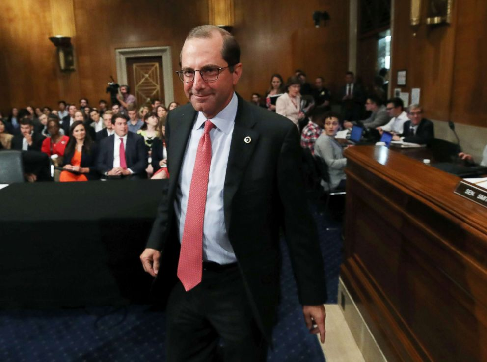 HHS Secretary Alex Azar prepares to testify before the Senate Health, Education, Labor and Pensions Committee on Capitol Hill, June 12, 2018, in Washington. The committee heard testimony on President Trump's Drug pricing plan.