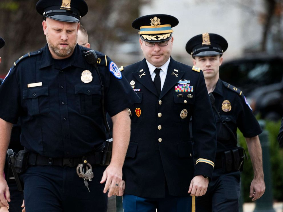 PHOTO: Army Lieutenant Colonel Alexander Vindman, a military officer at the National Security Council, center, arrives on Capitol Hill in Washington, D.C., Oct. 29, 2019.