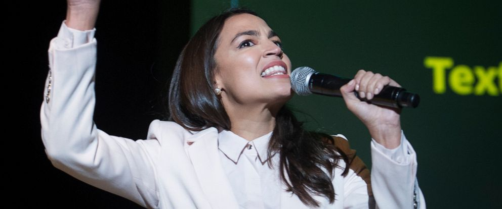 PHOTO: Rep. Alexandra Ocasio-Cortez, D-N.Y., addresses The Road to the Green New Deal Tour final event at Howard University in Washington, Monday, May 13, 2019.