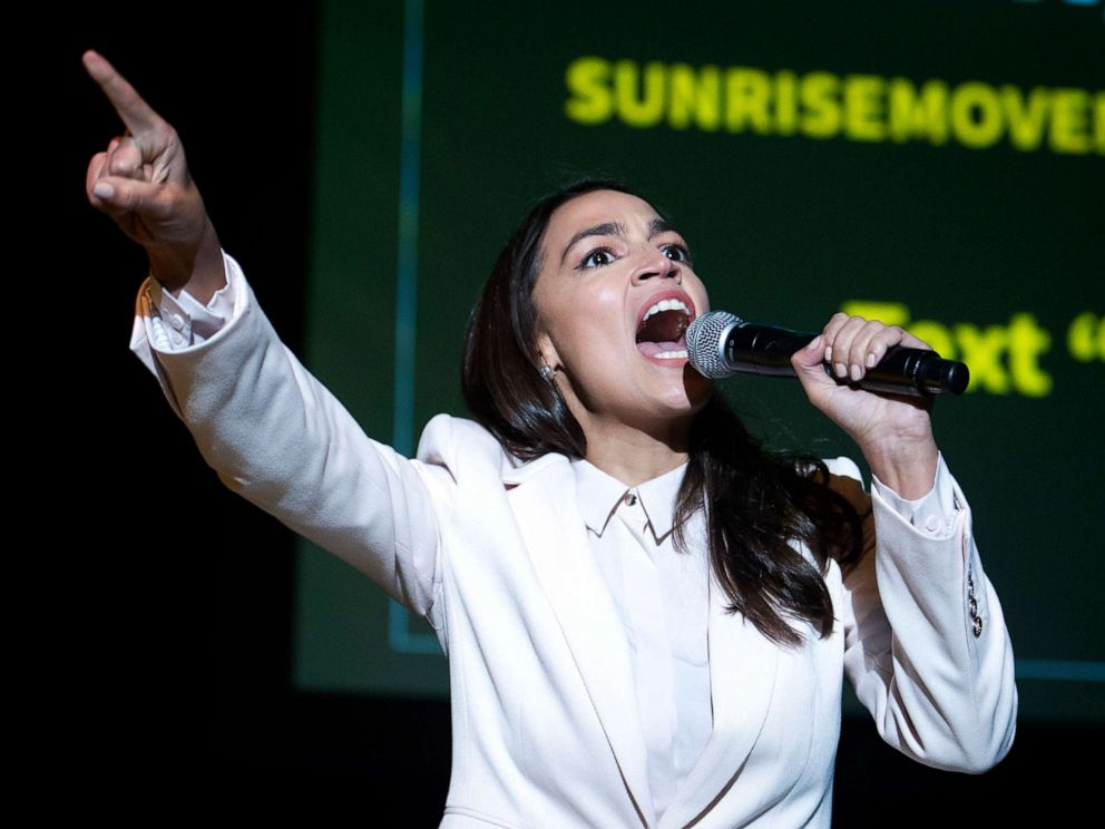 PHOTO:Rep. Alexandria Ocasio-Cortez, speaks at the final event for the Road to the Green New Deal Tour in Washington, D.C., Monday, May 13, 2019.
