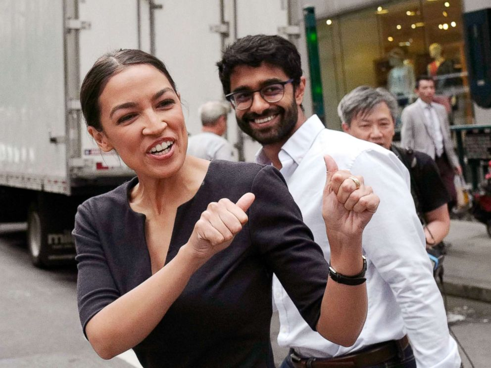 PHOTO: Alexandria Ocasio-Cortez, the winner of a Democratic Congressional primary in New York, reacts to a passerby, June 27, 2018, in New York. Ocasio-Cortez, 28, upset U.S. Rep. Joe Crowley in Tuesdays election.