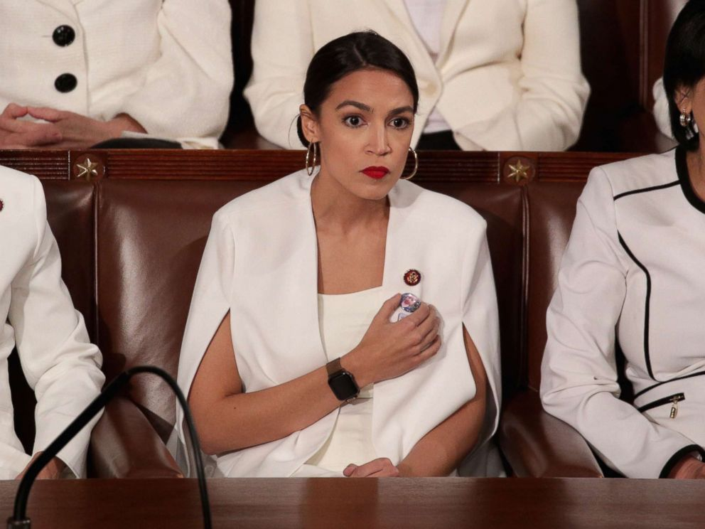 PHOTO: Rep. Alexandria Ocasio-Cortez watches President Donald Trumps State of the Union address at the U.S. Capitol Building on Feb. 5, 2019 in Washington.