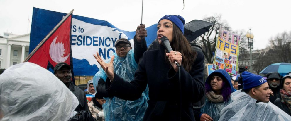 PHOTO: Rep. Alexandria Ocasio-Cortez speaks during the March For TPS Justice rally in support of DACA recipients and temporary protected status holders outside the White House in Washington, Feb. 12, 2019.